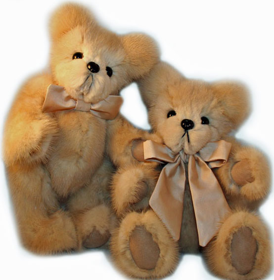 blonde mink fur teddy bears