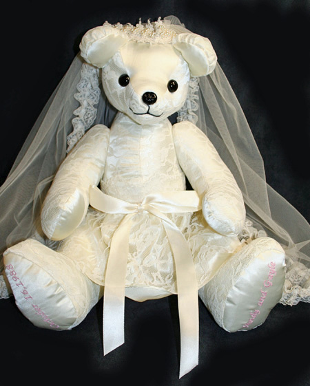 custom teddy bear made from wedding dress bridal gown