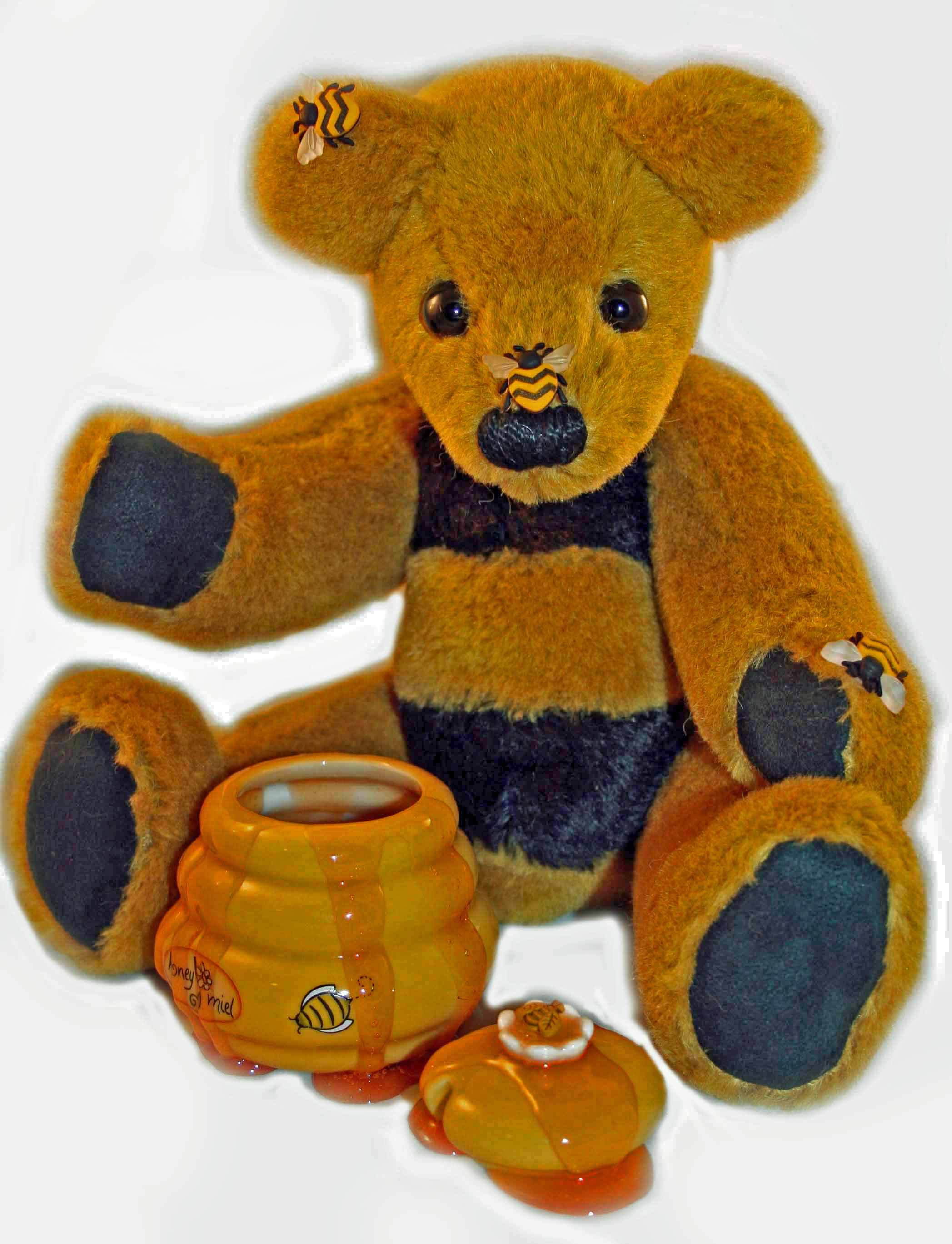 "Bee-atrice, 12"" Mohair Honey Loving Bear"
