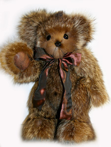 "Westwick, Raccoon Fur Teddy Bear, 16"" -SOLD"