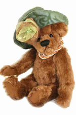 "Stella, 12"" Honey Brown Mohair Bear with Handmade Hat-SOLD"